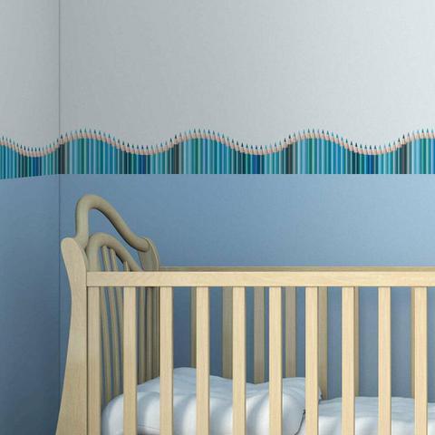 Imagem de Faixa de Parede Infantil Lapis de Cor Onda Azul 5mx10cm