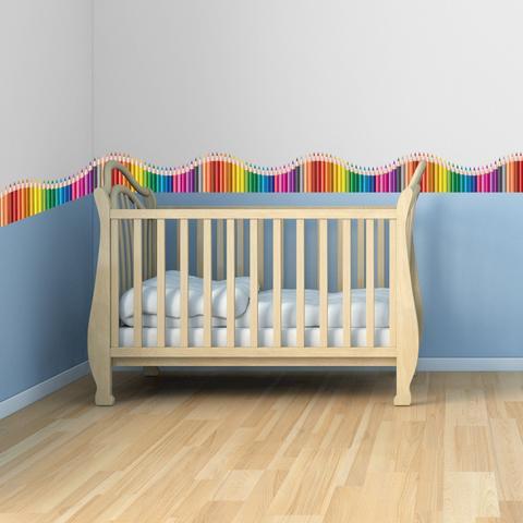 Imagem de Faixa de Parede Infantil Lapis de Cor Onda Colorida 3mx15cm