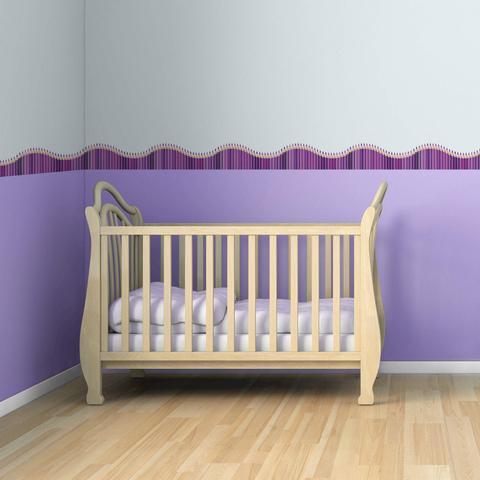 Imagem de Faixa de Parede Infantil Lapis de Cor Onda Lilás e Roxo 3mx15cm