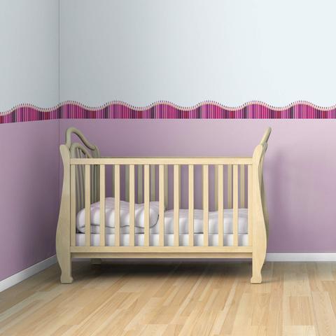 Imagem de Faixa de Parede Infantil Lapis de Cor Onda Rosa 5mx10cm