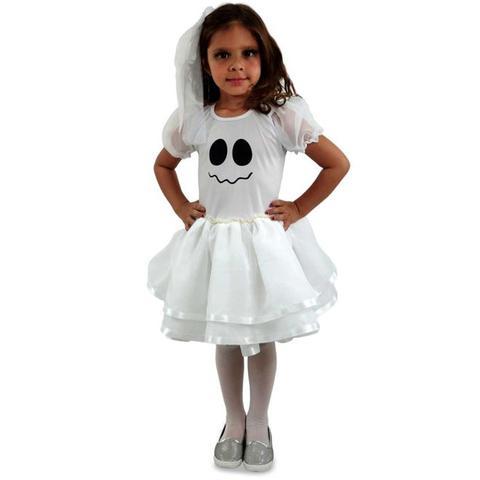 Imagem de Fantasia de Fantasma Feminina Com Véu Halloween Infantil