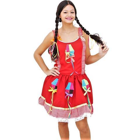 Imagem de Fantasia de Festa Junina Adulto Feminino Vestido Caipira