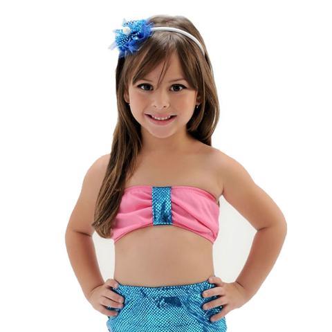 Imagem de Fantasia Infantil Longo Pequena Sereia Ariel Azul