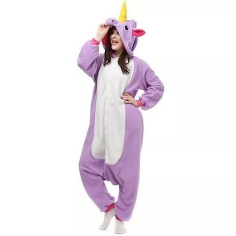 Imagem de Fantasia Pijama Macacão de Unicórnio Kigurumi Adulto Lilás Com  Gorro b18c3c6d191