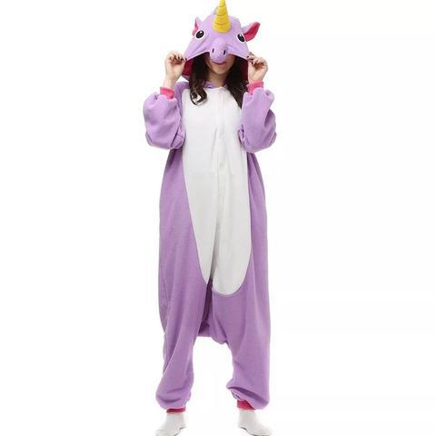 Imagem de Fantasia Pijama Macacão de Unicórnio Kigurumi Adulto Lilás Com Gorro