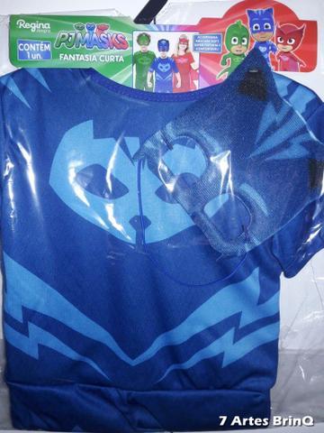 Imagem de Fantasia Pj Masks Menino Gato Infantil Connor Curta Com Máscara Original Disney - M - Azul