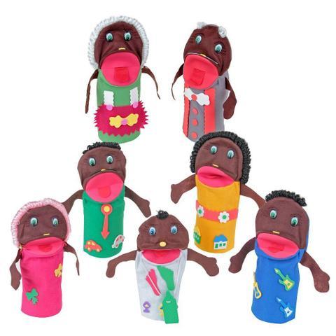 Imagem de Fantoches Familia Negra Feltro 7 Personagens