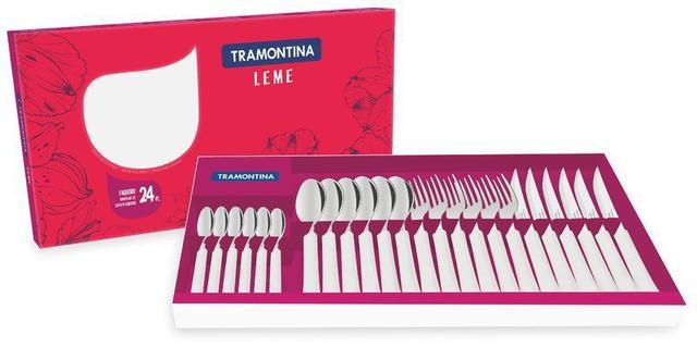 Imagem de Faqueiro em Aço Inox Tramontina Leme 24 peças Branco 23198/830