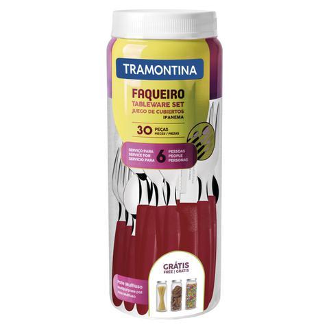 Imagem de Faqueiro Tramontina 23398788 Ipanema Aço Inox 30 Peças Vermelho