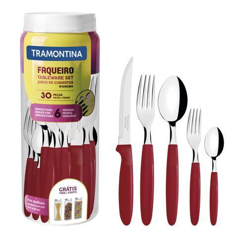 Imagem de Faqueiro Tramontina Ipanema em Inox Vermelho com Pote Plástico 30 Peças