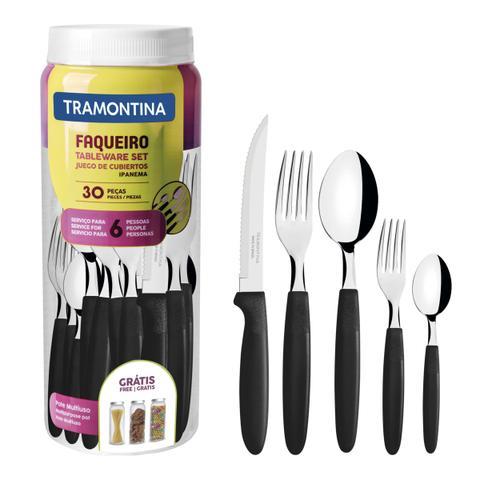 Imagem de Faqueiro Tramontina Ipanema Inox e cabo Preto com Pote Plástico 30 Peças