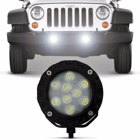 Imagem de Farol de Milha Auxiliar Power LED Universal 9 LEDs 9W 12V 24V Luz Branca Autopoli