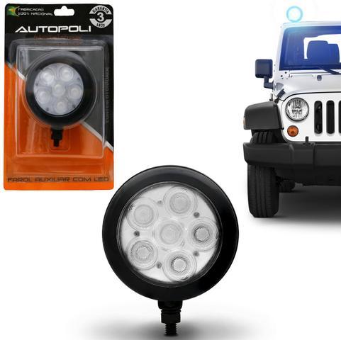 Imagem de Farol de Milha Auxiliar Redondo Slim Universal 6 LEDs 12V 24V 6W Azul Autopoli