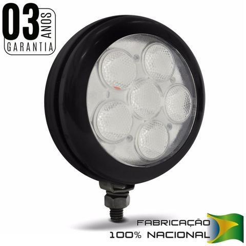 Imagem de Farol de Milha Auxiliar Redondo Slim Universal 6 LEDs 12V 24V Luz Branca Original Autopoli