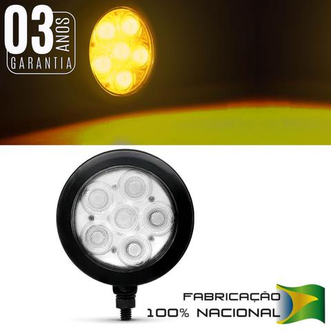 Imagem de Farol de Milha Auxiliar Redondo Slim Universal 6 LEDs 12V 24V Todas as Cores Autopoli