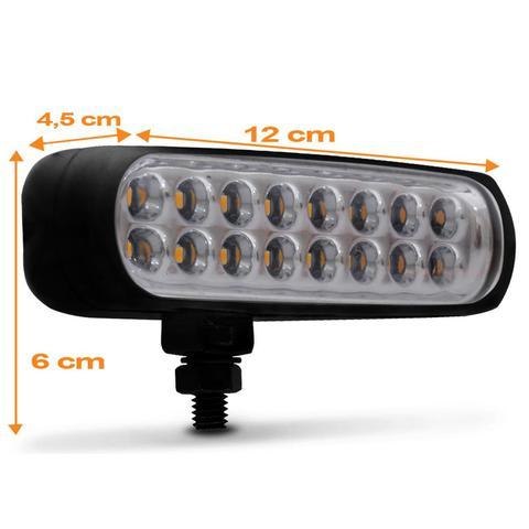Imagem de Farol de Milha Auxiliar Retangular Slim Universal 16 LEDs 12V 24V 3,2W Âmbar Autopoli