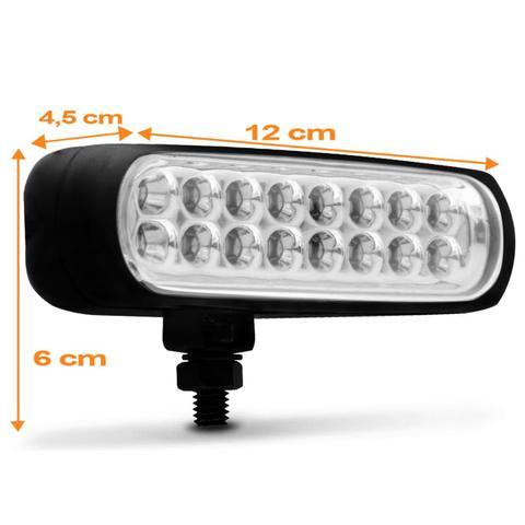 Imagem de Farol de Milha Auxiliar Retangular Slim Universal 16 LEDs 12V 24V 3,2W Vermelho Autopoli