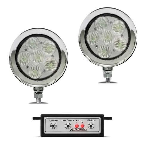 Imagem de Farol de Milha Auxiliar Universal Strobo Safety Car 6 LEDs 12V 9 Efeitos Luz Azul e Branca Autopoli