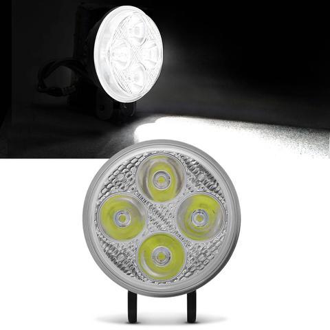 Imagem de Farol De Milha Moto LED Universal Auxiliar De Neblina 40W 12V Redondo Preto 4 LED Lente Cristal