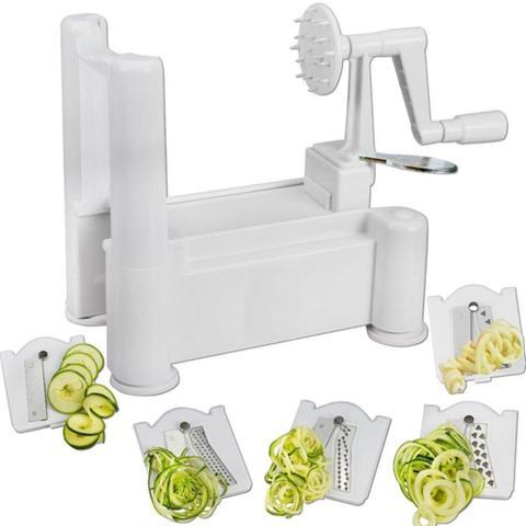 Imagem de Fatiador Espiral Cortador Ralador Spiralizer Com 3 Laminas Para Fazer Macarrao De Legumes E Vegetais