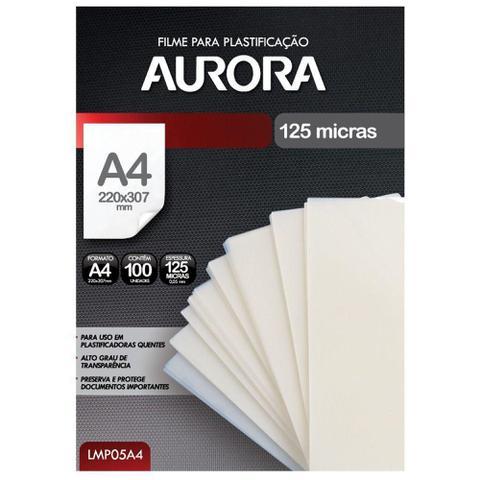 Imagem de Filme para Plastificação Aurora A4 220x307x0,05mm (125 micras) - Pacote com 100 unidades