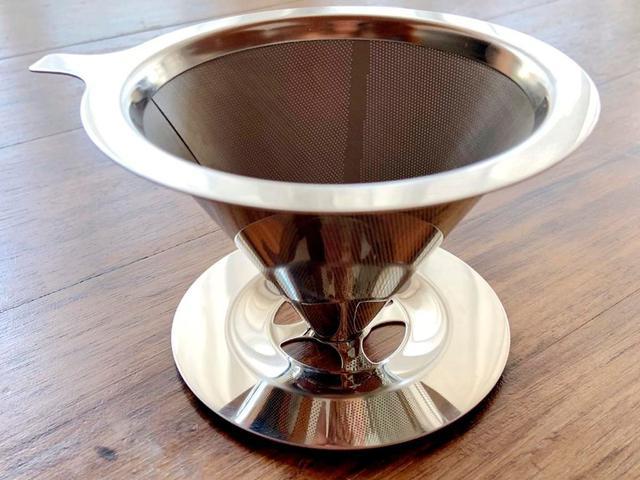 Imagem de Filtro Coador de Café em Inox Reutilizável Ecológico Em Aço Inox Tamanho Médio - 123 Ùtil