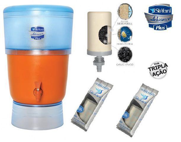 Imagem de Filtro de Água Advance Plus Stéfani com 3 Velas tripla ação esterilizante e Boia Cap. 10 Litros