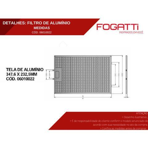 Imagem de Filtro de Alumínio Metálico Lavável para Coifas Fogatti Vidro Curvo Slim