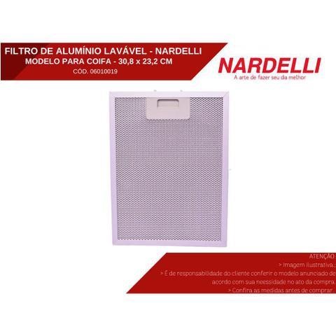 Imagem de Filtro de Alumínio Metálico Lavável para Coifas Nardelli Vidro Curvo Slim