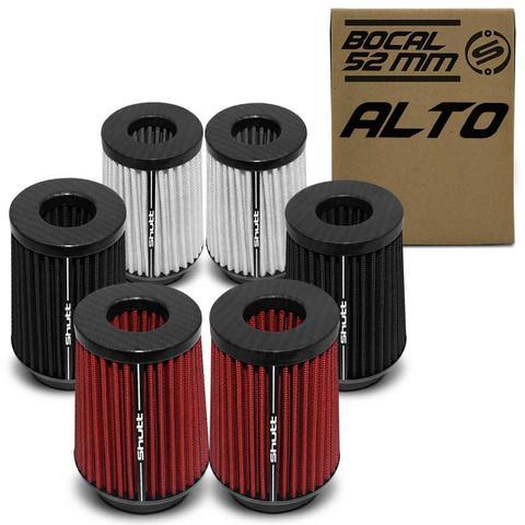 Imagem de Filtro De Ar Esportivo Duplo Fluxo Alto 52Mm Cônico Lavável Especial Carbon Shutt Base Borracha