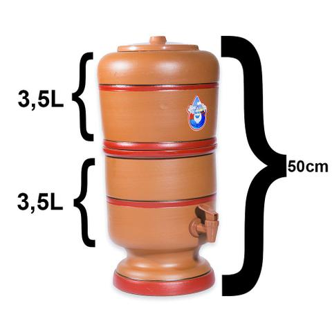 Imagem de Filtro De Barro 7 Litros Com 1 Vela Carvão Ativado e 1 Boia