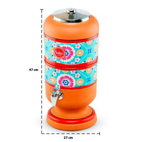Imagem de Filtro de Barro Decorado Purificador de Água Tex Turquesa Salus 4 Litros