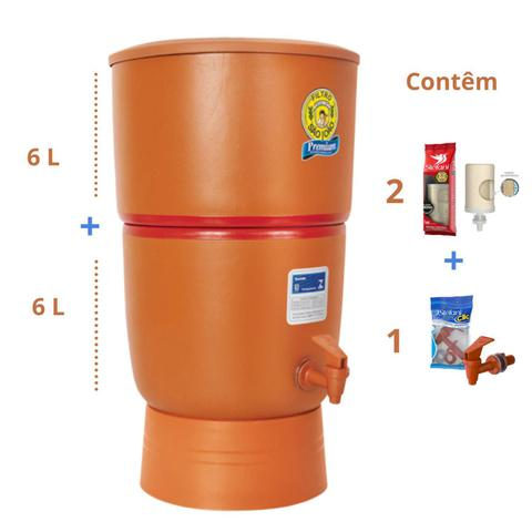 Imagem de Filtro de Barro para Água São João Premium 6 Litros 2 Velas - Stéfani