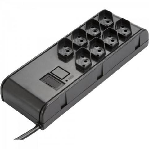 Imagem de Filtro de linha slim 8 tomadas bivolt automático preto rcg