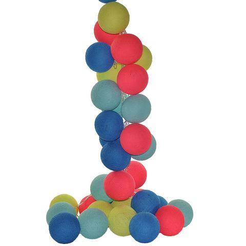 Imagem de Fio de Luz LED CORMILU Azul Pink Jampa 20 bolas À Pilha