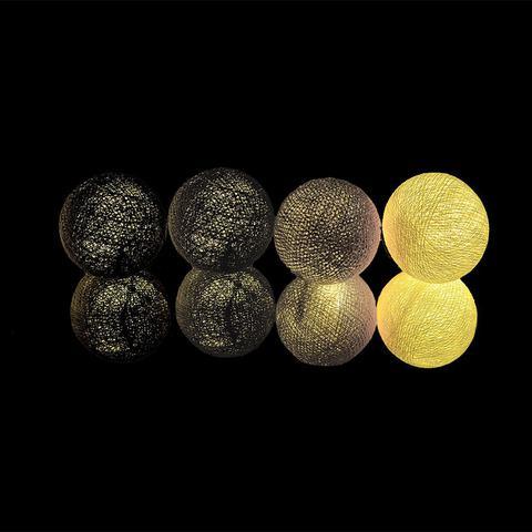 Imagem de Fio de Luz LED CORMILU Branco Cinza Preto Nova York 20 bolas À Pilha