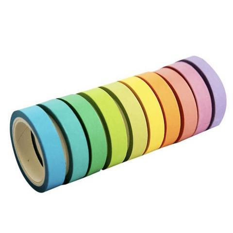 Imagem de Fita Adesiva Decorativa Washi Tape Cor Pastel Estreita 12 unidades