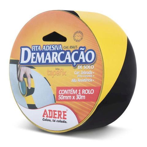 Imagem de Fita Adesiva Demarcação Preta e Amarela 50mm x 30m - Adere