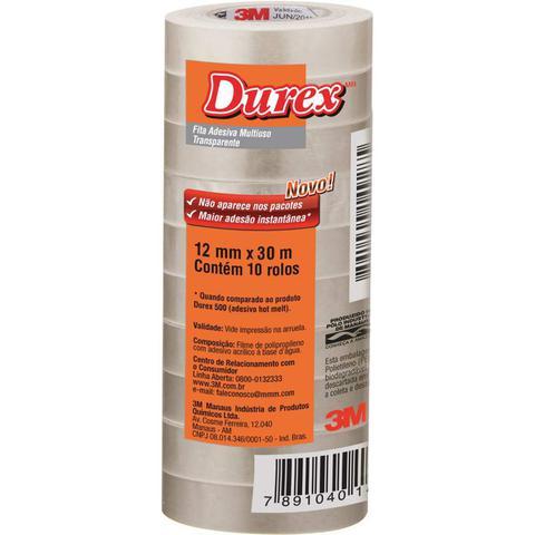 Imagem de Fita Adesiva Durex Transparente 3M 12MMX30M PCT 10 Unidades