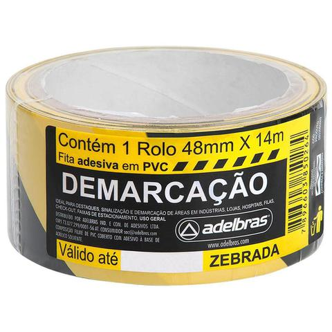 Imagem de Fita Adesiva Zebrada Para Demarcação 48mmx14m Adelbras