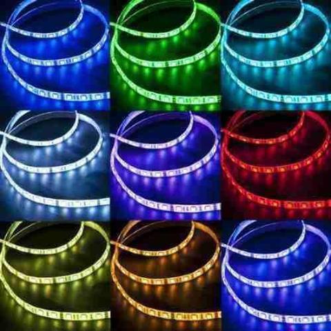 Imagem de Fita de Led RGB 5 metros a prova dágua Dupla Face 5050w 12v 300 Leds com Fonte e Controle - Jikatec