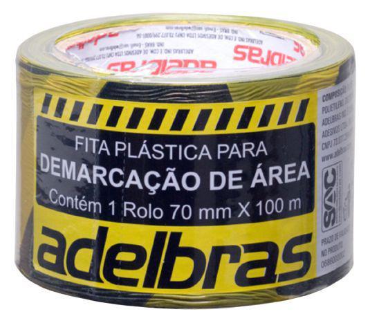 Imagem de Fita Demarcação De Área Zebrada Adelbras 70mm X 100m