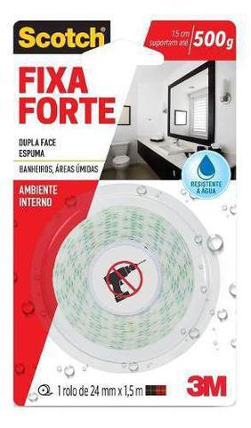 Imagem de Fita Dupla Face Fixa Forte 24mmx1,5m Áreas Úmidas Scotch 3m