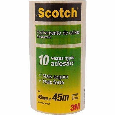 Imagem de Fita Empacotamento Scotch 3m Pacote c/04 unidades
