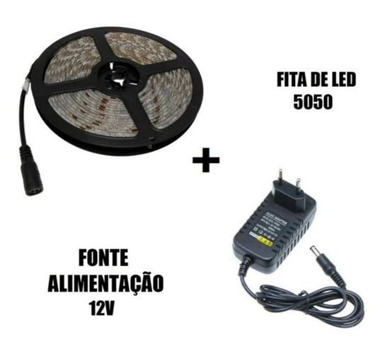 Imagem de Fita Led 5 Metro Branca frio 6500k Com Fonte 12v 5050 IP65 A Prova D Aguá