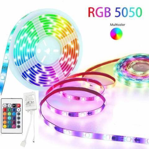 Imagem de Fita Led 5050 Rgb Colorida Dupla Face 10m Kit Bivolt + Fonte