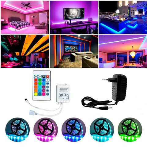 Imagem de Fita LED Rgb 5050 10m Colorido Dupla Face C/ Controle e Fonte