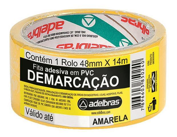 Imagem de Fita para Demarcação de Solo 02 Unidades Amarelo Adelbrás 14mts 48mm