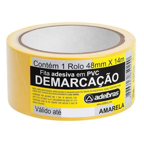 Imagem de Fita para Demarcacao de Solo 48mm x 14m Amarelo 1 UN Adelbras
