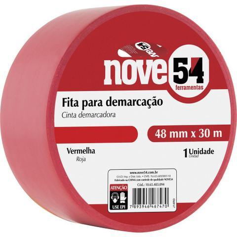 Imagem de Fita para demarcação de solo 48mmx30m vermelha - Nove54